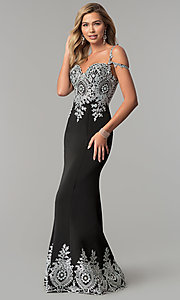 Image of long cold-shoulder prom dress with metallic lace. Style: DQ-2347 Front Image