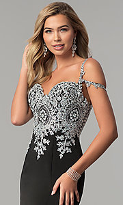 Image of long cold-shoulder prom dress with metallic lace. Style: DQ-2347 Detail Image 1