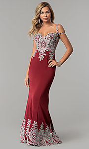 Image of long cold-shoulder prom dress with metallic lace. Style: DQ-2347 Detail Image 2