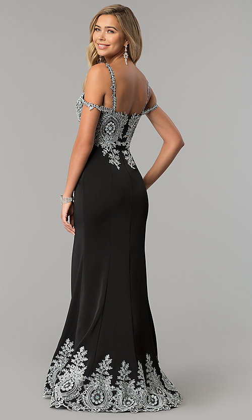 Image of long cold-shoulder prom dress with metallic lace. Style: DQ-2347 Back Image