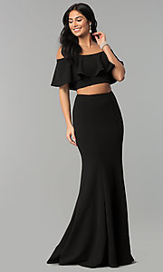 Image of long two-piece off-shoulder flounce-top prom dress. Style: DQ-2342 Detail Image 2
