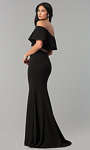 Image of long two-piece off-shoulder flounce-top prom dress. Style: DQ-2342 Detail Image 3