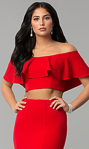 Image of long two-piece off-shoulder flounce-top prom dress. Style: DQ-2342 Detail Image 1