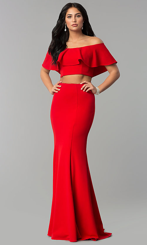 Image of long two-piece off-shoulder flounce-top prom dress. Style: DQ-2342 Front Image