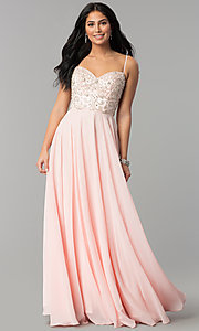 Image of beaded-sweetheart-bodice long chiffon formal dress. Style: DQ-2503 Front Image