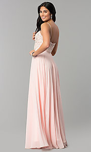 Image of beaded-sweetheart-bodice long chiffon formal dress. Style: DQ-2503 Back Image