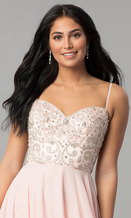 Image of beaded-sweetheart-bodice long chiffon formal dress. Style: DQ-2503 Detail Image 1