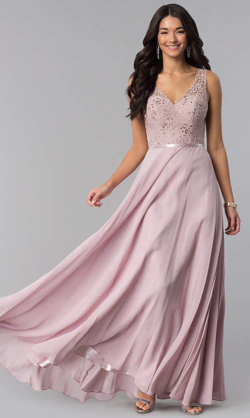 4a038c339e3 Image of sleeveless lace-bodice v-neck long formal dress. Style  DQ
