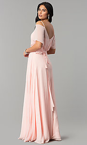 Image of long chiffon v-neck cold-shoulder prom dress. Style: DQ-2343 Back Image