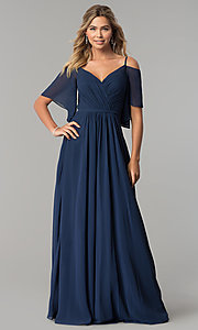 Image of long chiffon v-neck cold-shoulder prom dress. Style: DQ-2343 Detail Image 3