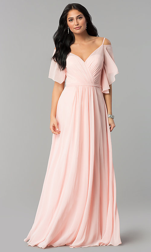 Image of long chiffon v-neck cold-shoulder prom dress. Style: DQ-2343 Front Image