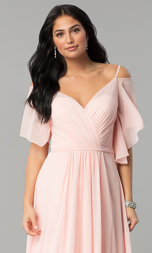 Image of long chiffon v-neck cold-shoulder prom dress. Style: DQ-2343 Detail Image 1
