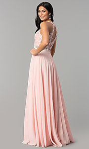 Image of v-neck lace-bodice back-cut-out chiffon prom dress. Style: DQ-2332 Back Image