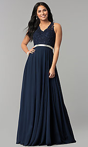 Image of v-neck lace-bodice back-cut-out chiffon prom dress. Style: DQ-2332 Detail Image 2