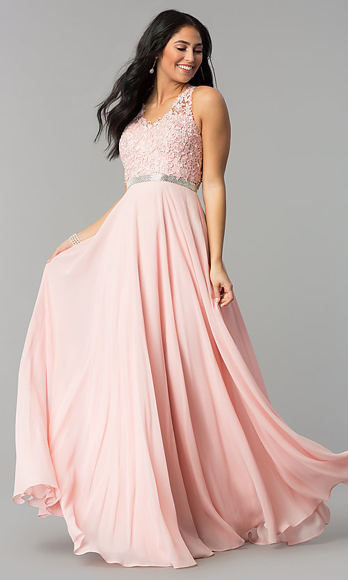 Image of v-neck lace-bodice back-cut-out chiffon prom dress. Style: DQ-2332 Front Image