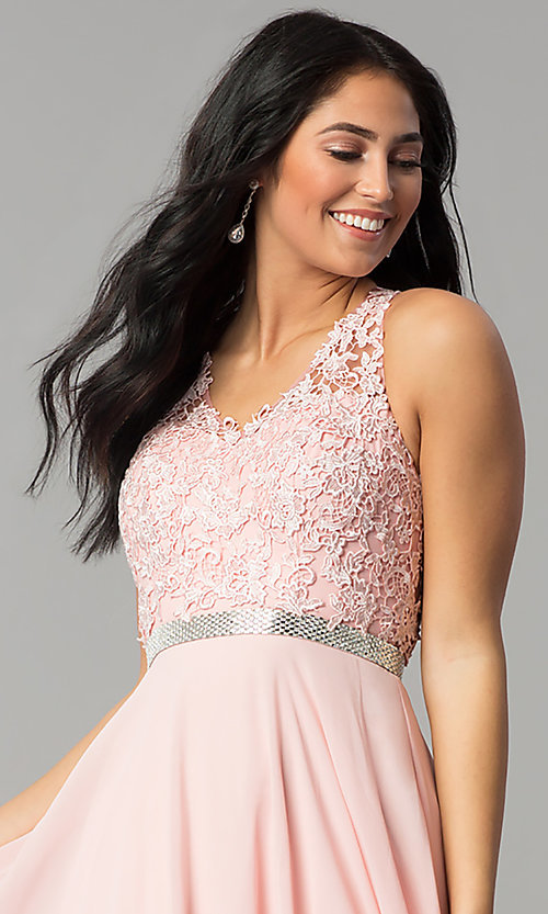 Image of v-neck lace-bodice back-cut-out chiffon prom dress. Style: DQ-2332 Detail Image 1