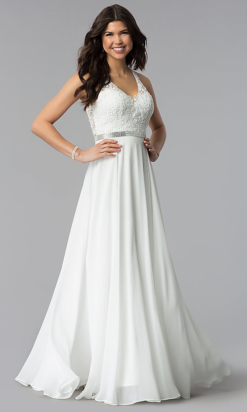 Image of v-neck lace-bodice back-cut-out chiffon prom dress. Style: DQ-2332 Detail Image 3