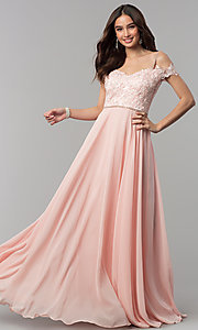 Image of beaded-bodice cold-shoulder long formal prom dress. Style: DQ-2327 Front Image
