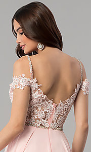 Image of beaded-bodice cold-shoulder long formal prom dress. Style: DQ-2327 Detail Image 2