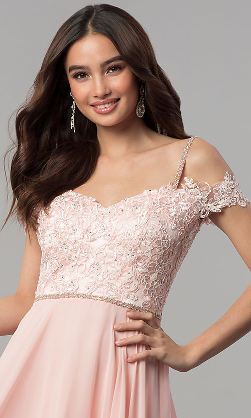 Image of beaded-bodice cold-shoulder long formal prom dress. Style: DQ-2327 Detail Image 1
