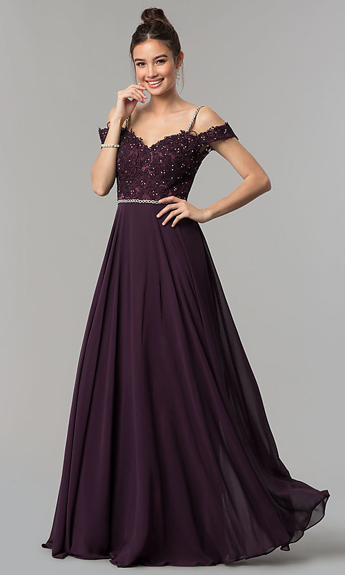 Image of beaded-bodice cold-shoulder long formal prom dress. Style: DQ-2327 Detail Image 4