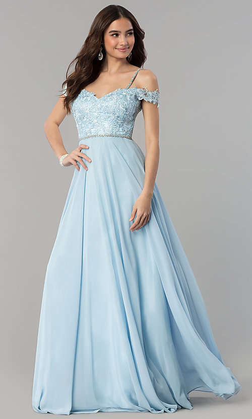 Image of beaded-bodice cold-shoulder long formal prom dress. Style: DQ-2327 Detail Image 3