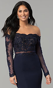 Image of long-sleeve lace-bodice long formal evening dress. Style: DQ-2275 Detail Image 1