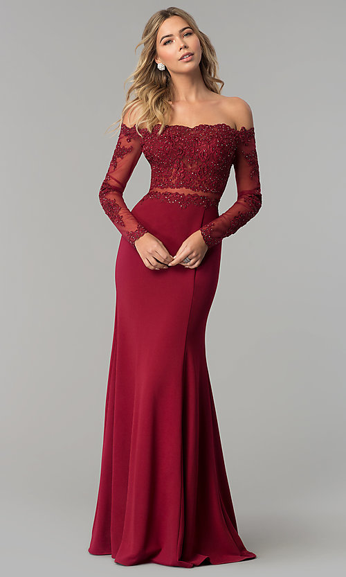 Image of long-sleeve lace-bodice long formal evening dress. Style: DQ-2275 Detail Image 2