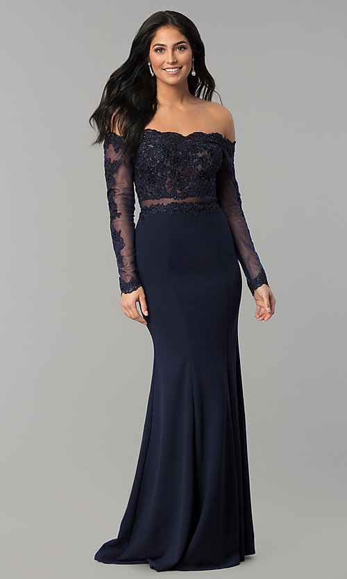 Image of long-sleeve lace-bodice long formal evening dress. Style: DQ-2275 Front Image