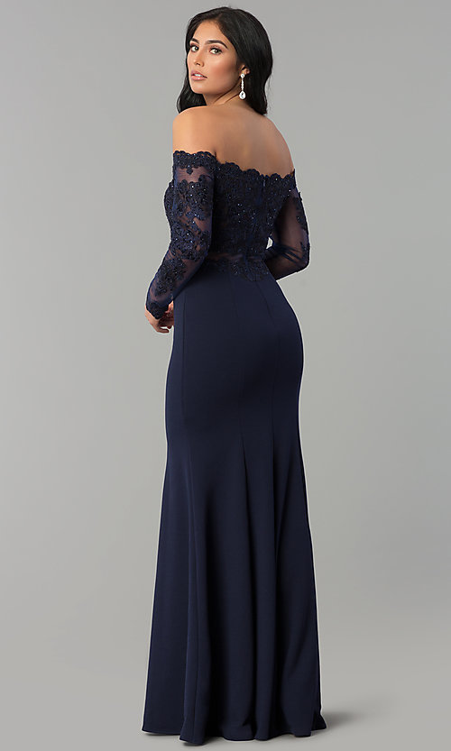 Image of long-sleeve lace-bodice long formal evening dress. Style: DQ-2275 Back Image