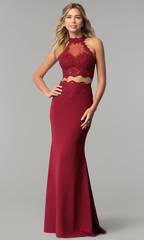 Image of lace and rhinestone two-piece long prom dress.  Style: DQ-2356 Detail Image 3