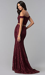 Image of two-piece long lace off-the-shoulder prom dress. Style: DQ-2299 Back Image