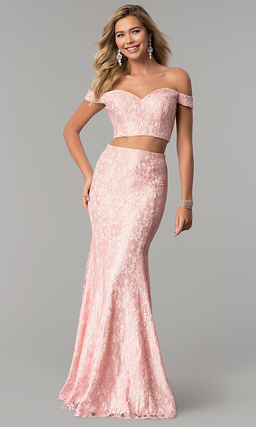 Image of two-piece long lace off-the-shoulder prom dress. Style: DQ-2299 Detail Image 2