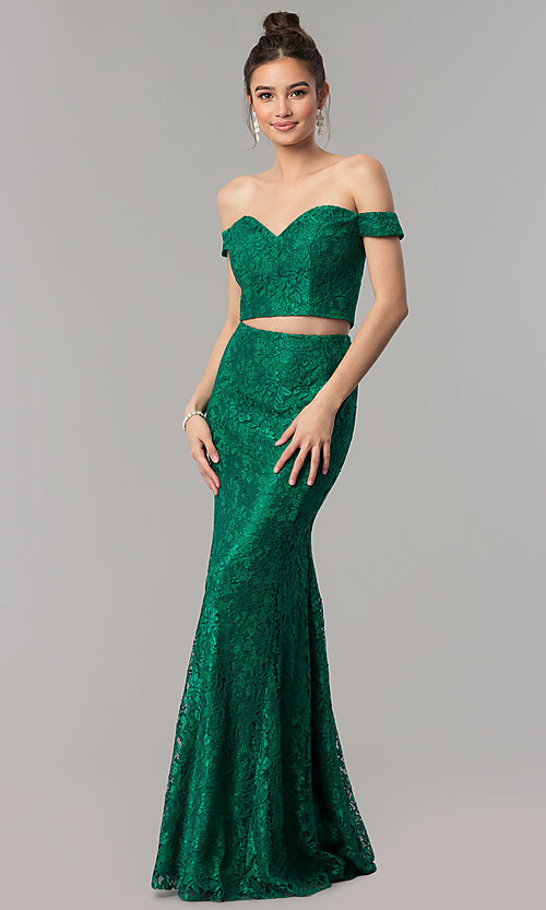 Image of two-piece long lace off-the-shoulder prom dress. Style: DQ-2299 Detail Image 3