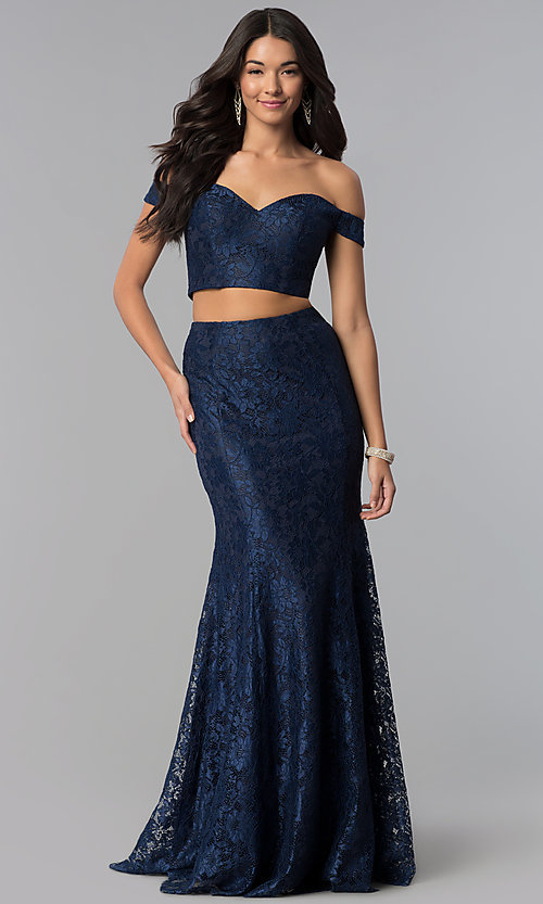 Image of two-piece long lace off-the-shoulder prom dress. Style: DQ-2299 Front Image