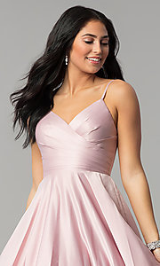 Image of long pleated v-neck open-back a-line prom dress. Style: DQ-2339 Detail Image 1