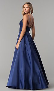 Image of long pleated v-neck open-back a-line prom dress. Style: DQ-2339 Detail Image 5