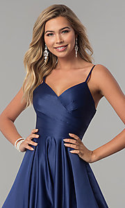 Image of long pleated v-neck open-back a-line prom dress. Style: DQ-2339 Detail Image 6