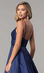 Image of long pleated v-neck open-back a-line prom dress. Style: DQ-2339 Detail Image 7
