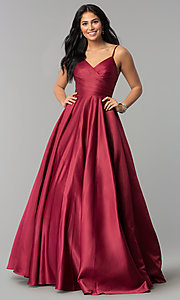 Image of long pleated v-neck open-back a-line prom dress. Style: DQ-2339 Detail Image 2