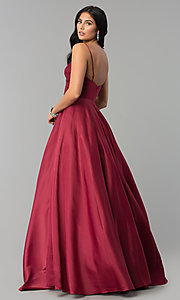 Image of long pleated v-neck open-back a-line prom dress. Style: DQ-2339 Back Image
