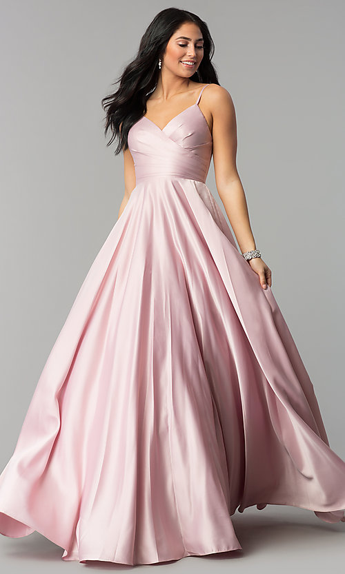 Image of long pleated v-neck open-back a-line prom dress. Style: DQ-2339 Front Image