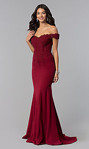 Image of off-shoulder beaded lace-bodice long formal dress. Style: DQ-2358 Front Image