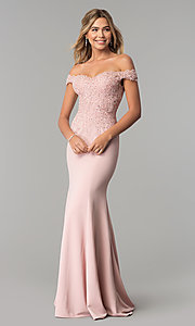 Image of off-shoulder beaded lace-bodice long formal dress. Style: DQ-2358 Detail Image 2