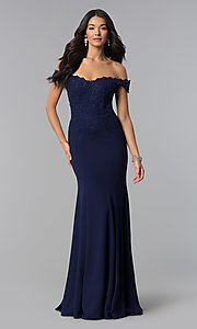 Image of off-shoulder beaded lace-bodice long formal dress. Style: DQ-2358 Detail Image 3