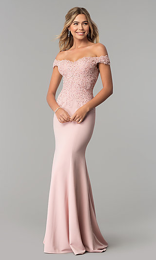 f9fc75af7472 Off-Shoulder Beaded Lace-Bodice Long Formal Dress