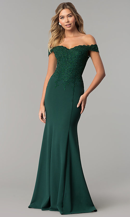 Image of off-shoulder beaded lace-bodice long formal dress. Style: DQ-2358 Detail Image 1