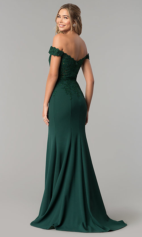 Image of off-shoulder beaded lace-bodice long formal dress. Style: DQ-2358 Back Image