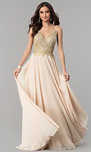Image of long open-back rhinestone-bodice v-neck prom dress. Style: DQ-2259 Front Image