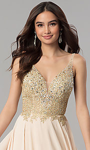 Image of long open-back rhinestone-bodice v-neck prom dress. Style: DQ-2259 Detail Image 1